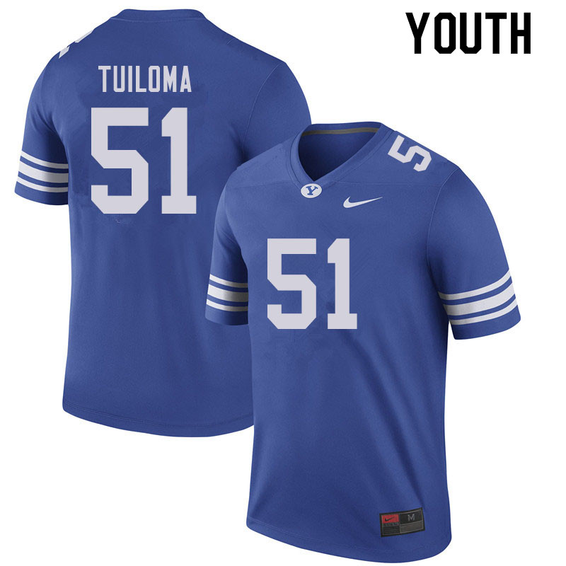 Youth #51 Jeddy Tuiloma BYU Cougars College Football Jerseys Sale-Royal