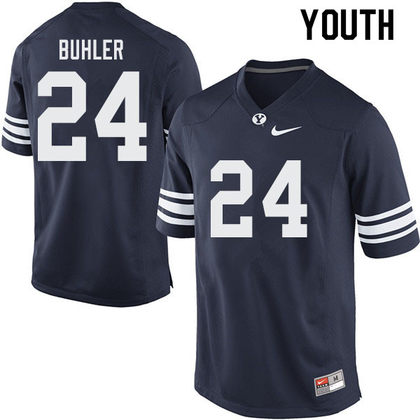 Youth #24 Joshua Buhler BYU Cougars College Football Jerseys Sale-Navy