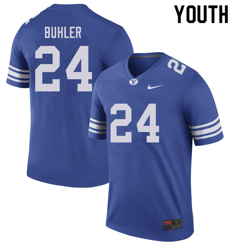 Youth #24 Joshua Buhler BYU Cougars College Football Jerseys Sale-Royal