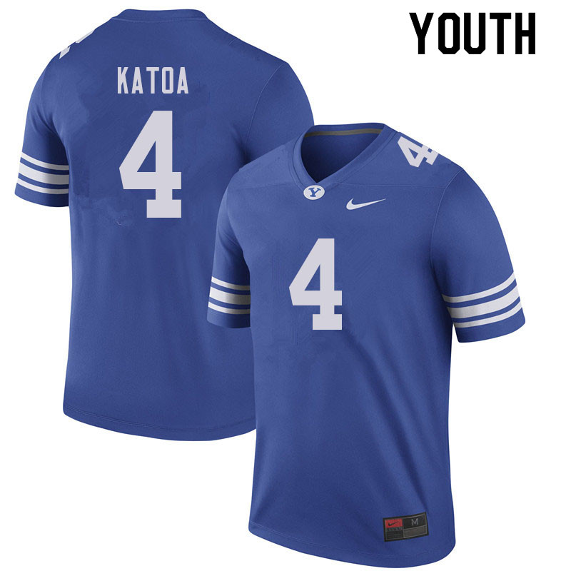 Youth #4 Lopini Katoa BYU Cougars College Football Jerseys Sale-Royal