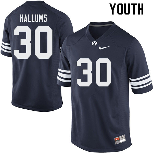 Youth #30 Tamarick Hallums BYU Cougars College Football Jerseys Sale-Navy