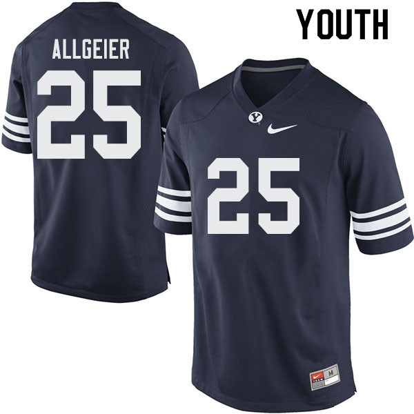 Youth #25 Tyler Allgeier BYU Cougars College Football Jerseys Sale-Navy