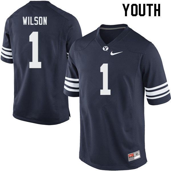 Youth #1 Zach Wilson BYU Cougars College Football Jerseys Sale-Navy