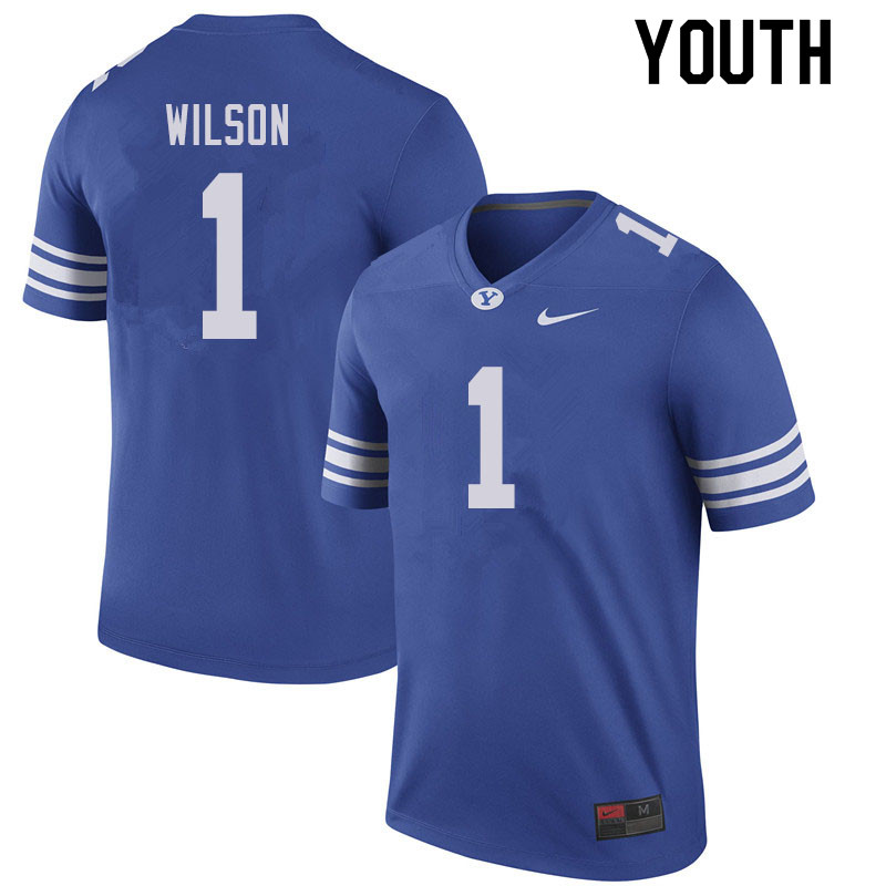 Youth #1 Zach Wilson BYU Cougars College Football Jerseys Sale-Royal