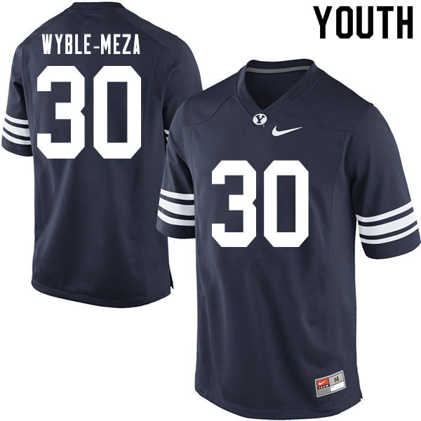 Youth #30 Alec Wyble-Meza BYU Cougars College Football Jerseys Sale-Navy