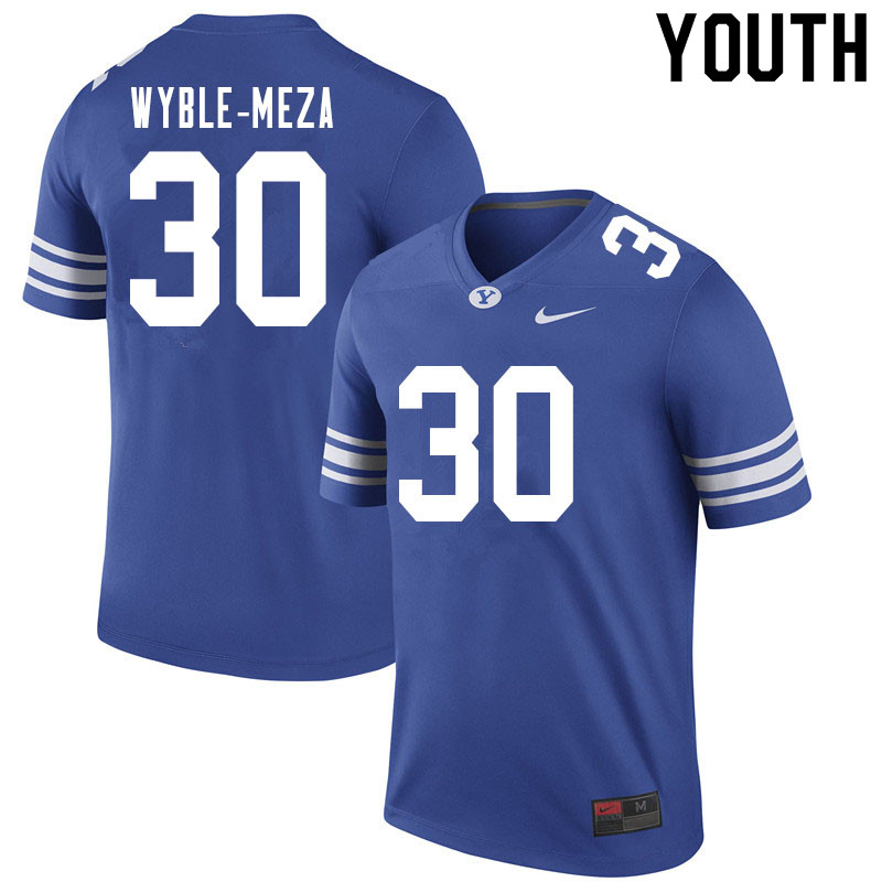 Youth #30 Alec Wyble-Meza BYU Cougars College Football Jerseys Sale-Royal