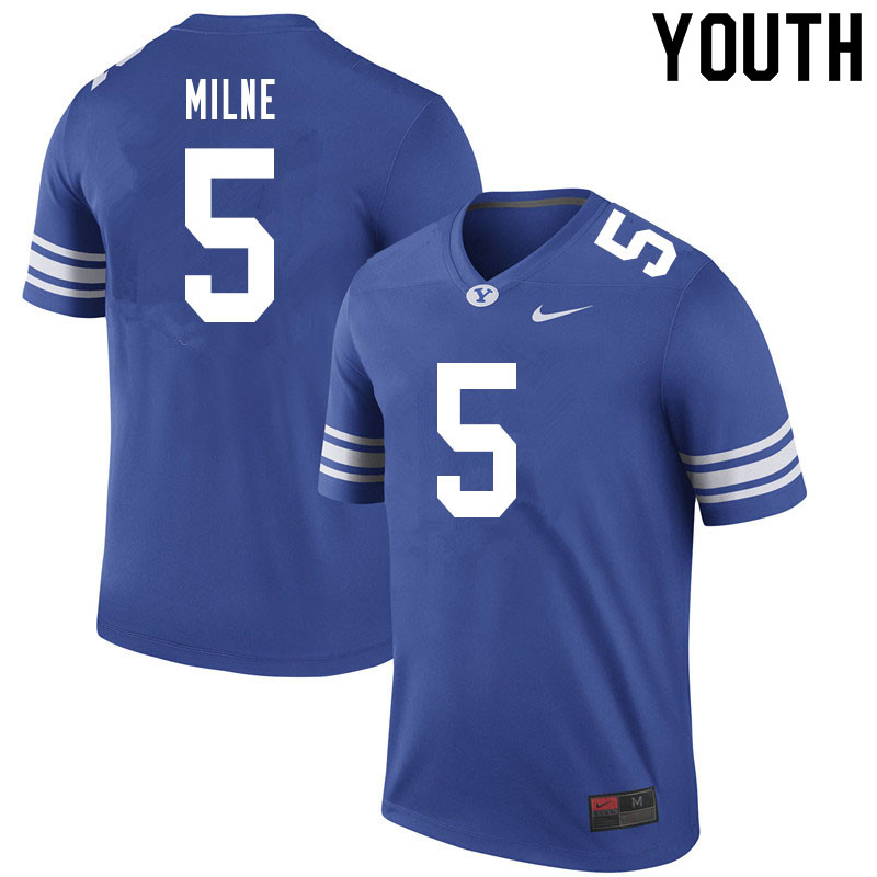 Youth #5 Dax Milne BYU Cougars College Football Jerseys Sale-Royal