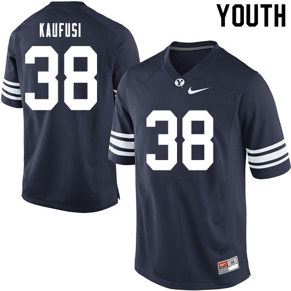 Youth #38 Jackson Kaufusi BYU Cougars College Football Jerseys Sale-Navy