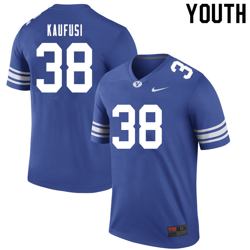 Youth #38 Jackson Kaufusi BYU Cougars College Football Jerseys Sale-Royal