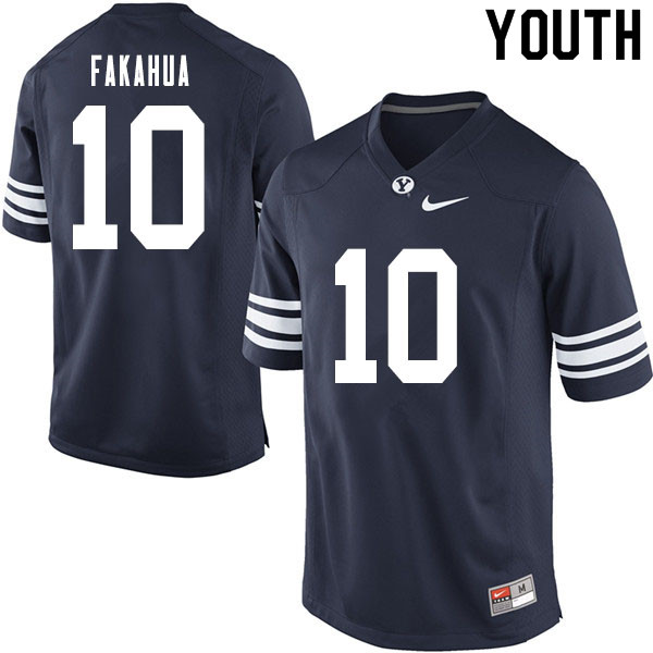 Youth #10 Mason Fakahua BYU Cougars College Football Jerseys Sale-Navy