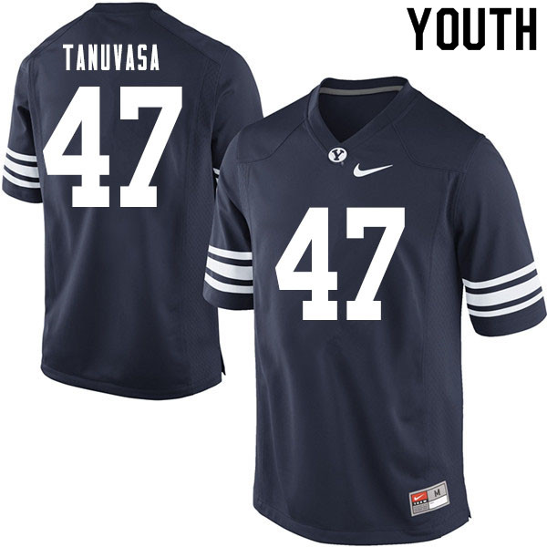 Youth #47 Pepe Tanuvasa BYU Cougars College Football Jerseys Sale-Navy