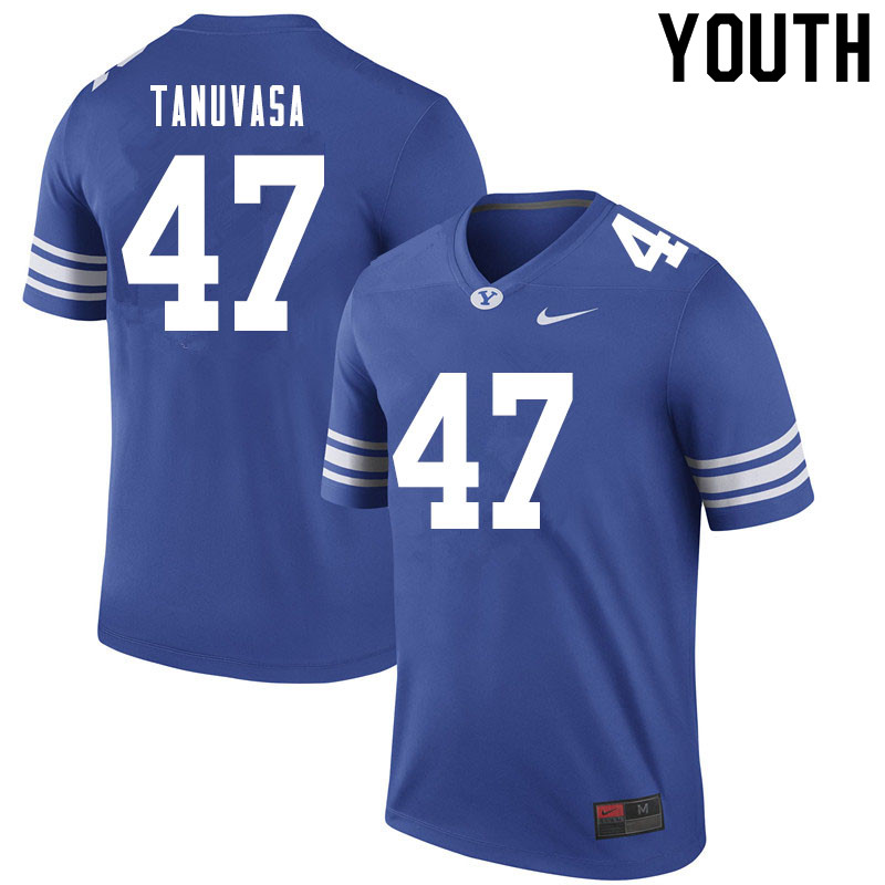 Youth #47 Pepe Tanuvasa BYU Cougars College Football Jerseys Sale-Royal