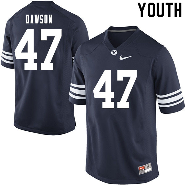 Youth #47 Theo Dawson BYU Cougars College Football Jerseys Sale-Navy