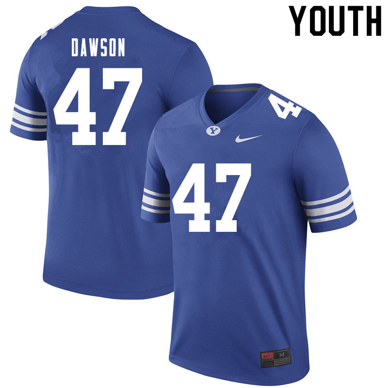 Youth #47 Theo Dawson BYU Cougars College Football Jerseys Sale-Royal