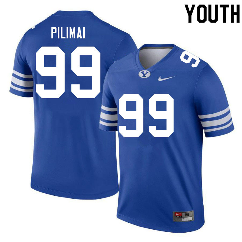 Youth #99 Alema Pilimai BYU Cougars College Football Jerseys Sale-Royal
