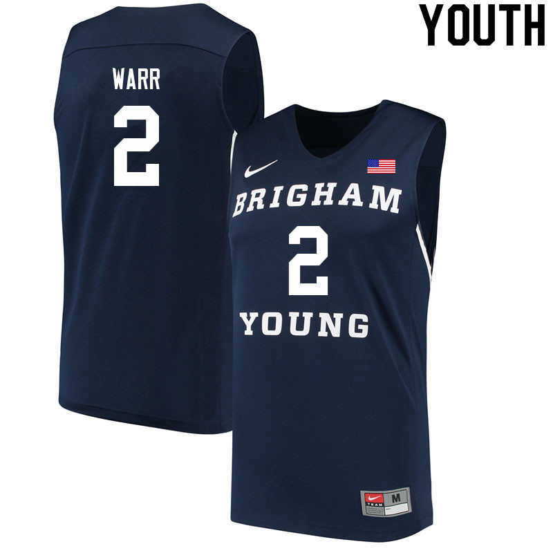 Youth #2 Brandon Warr BYU Cougars College Basketball Jerseys Sale-Navy