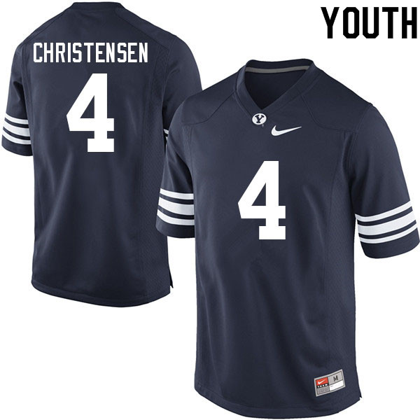 Youth #4 Caleb Christensen BYU Cougars College Football Jerseys Sale-Navy