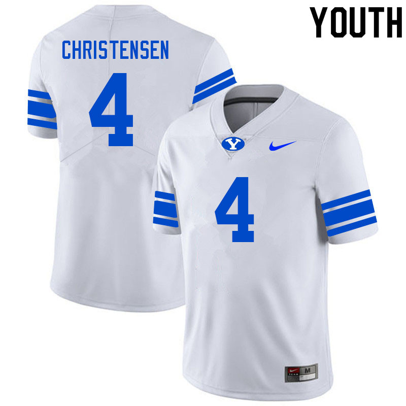 Youth #4 Caleb Christensen BYU Cougars College Football Jerseys Sale-White