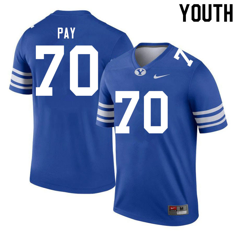 Youth #70 Connor Pay BYU Cougars College Football Jerseys Sale-Royal