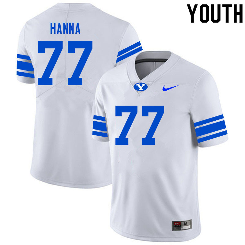 Youth #77 Donovan Hanna BYU Cougars College Football Jerseys Sale-White