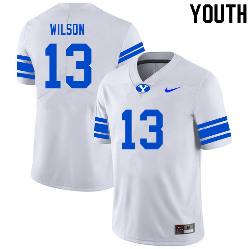 Youth #13 Jaques Wilson BYU Cougars College Football Jerseys Sale-White