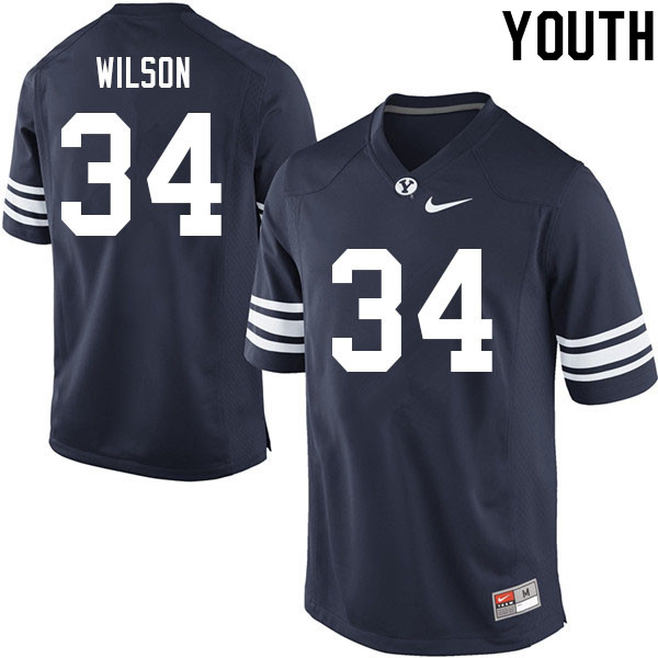 Youth #34 Josh Wilson BYU Cougars College Football Jerseys Sale-Navy