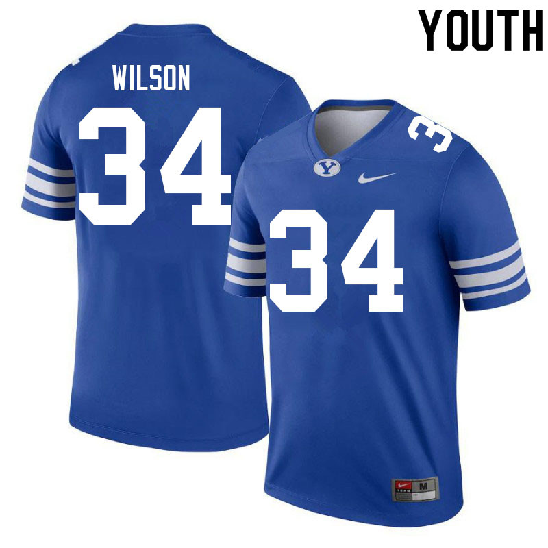 Youth #34 Josh Wilson BYU Cougars College Football Jerseys Sale-Royal
