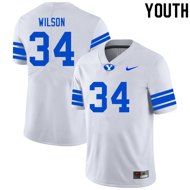 Youth #34 Josh Wilson BYU Cougars College Football Jerseys Sale-White