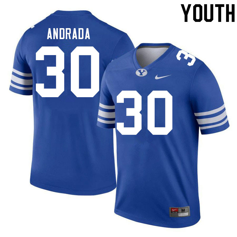 Youth #30 Luc Andrada BYU Cougars College Football Jerseys Sale-Royal