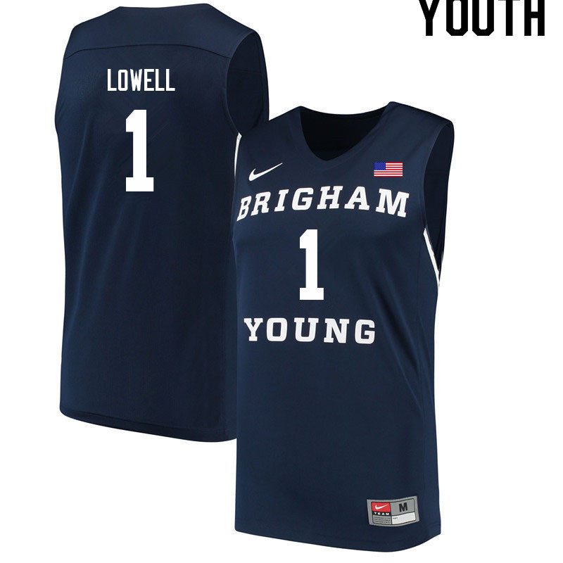 Youth #1 Wyatt Lowell BYU Cougars College Basketball Jerseys Sale-Navy