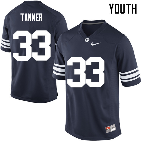 Youth #33 Beau Tanner BYU Cougars College Football Jerseys Sale-Navy