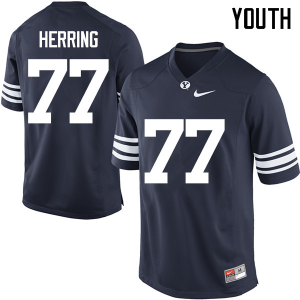 Youth #77 Chandon Herring BYU Cougars College Football Jerseys Sale-Navy