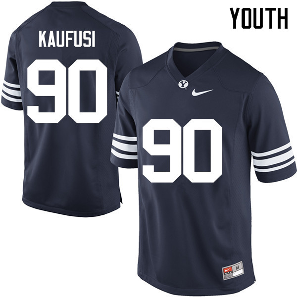 Youth #90 Corbin Kaufusi BYU Cougars College Football Jerseys Sale-Navy