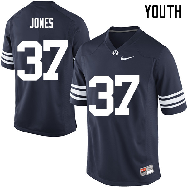 Youth #37 Grant Jones BYU Cougars College Football Jerseys Sale-Navy