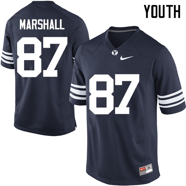 Youth #87 Hunter Marshall BYU Cougars College Football Jerseys Sale-Navy