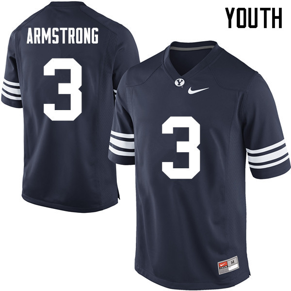Youth #3 Isaiah Armstrong BYU Cougars College Football Jerseys Sale-Navy