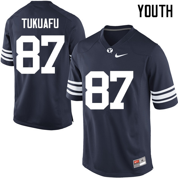Youth #87 Joe Tukuafu BYU Cougars College Football Jerseys Sale-Navy