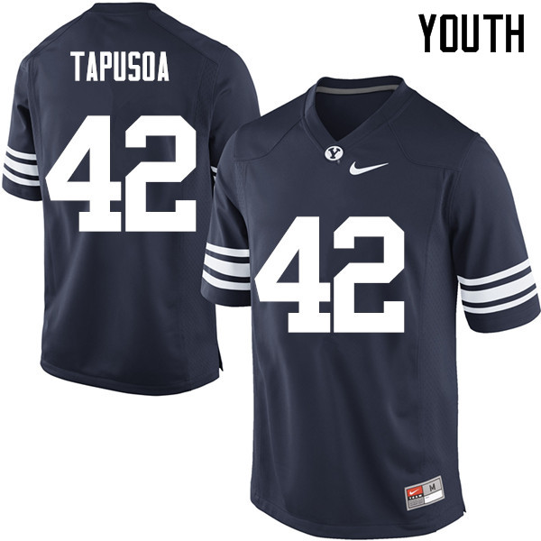 Youth #42 Johnny Tapusoa BYU Cougars College Football Jerseys Sale-Navy