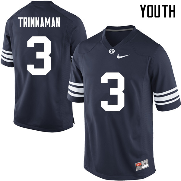 Youth #3 Jonah Trinnaman BYU Cougars College Football Jerseys Sale-Navy
