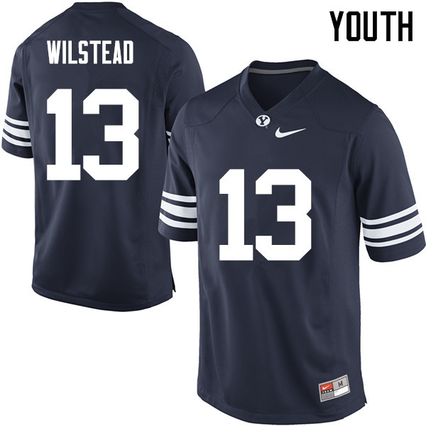 Youth #13 Kody Wilstead BYU Cougars College Football Jerseys Sale-Navy