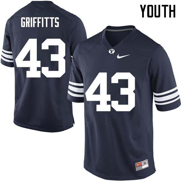 Youth #43 Kyle Griffitts BYU Cougars College Football Jerseys Sale-Navy