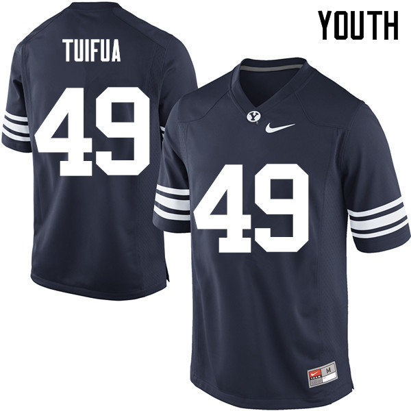 Youth #49 Langi Tuifua BYU Cougars College Football Jerseys Sale-Navy