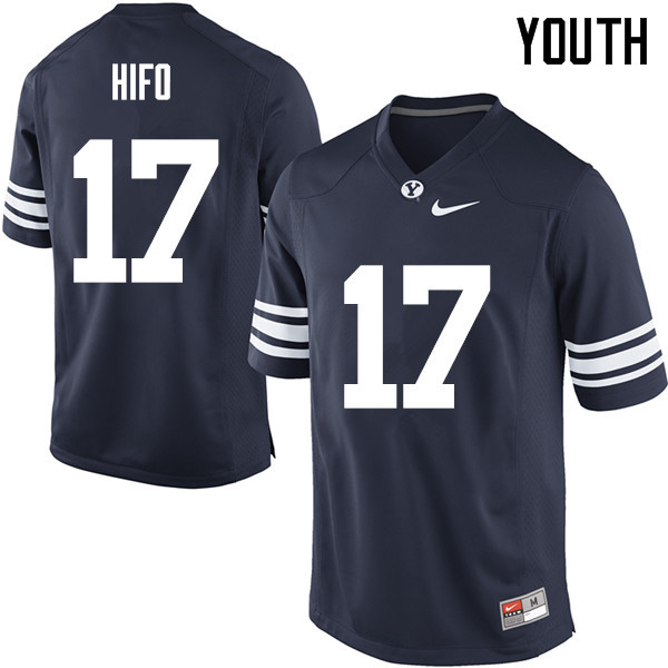 Youth #17 Marvin Hifo BYU Cougars College Football Jerseys Sale-Navy