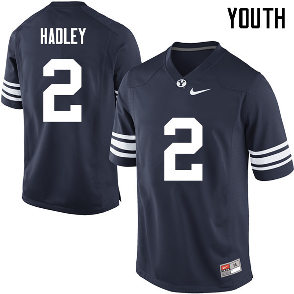 Youth #2 Matthew Hadley BYU Cougars College Football Jerseys Sale-Navy