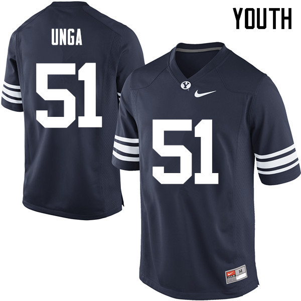 Youth #51 Morgan Unga BYU Cougars College Football Jerseys Sale-Navy