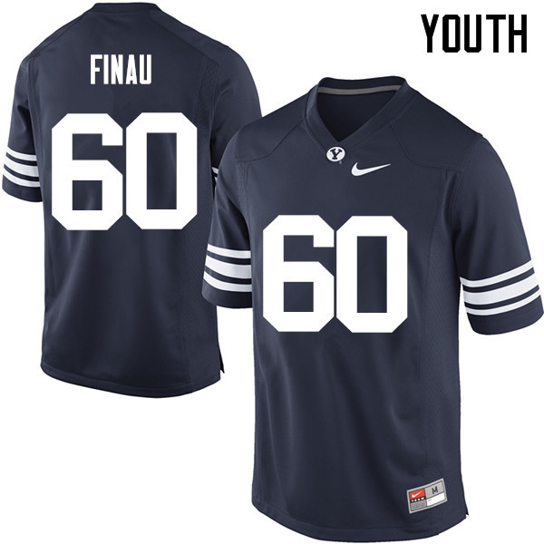 Youth #60 Paula Finau BYU Cougars College Football Jerseys Sale-Navy