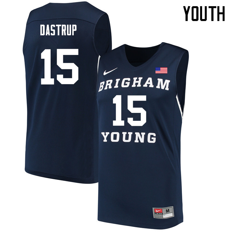 Youth #15 Payton Dastrup BYU Cougars College Basketball Jerseys Sale-Navy