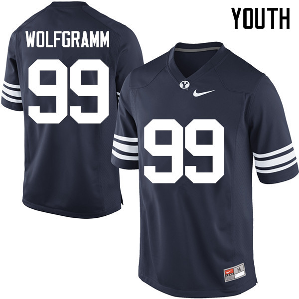 Youth #99 Solomone Wolfgramm BYU Cougars College Football Jerseys Sale-Navy