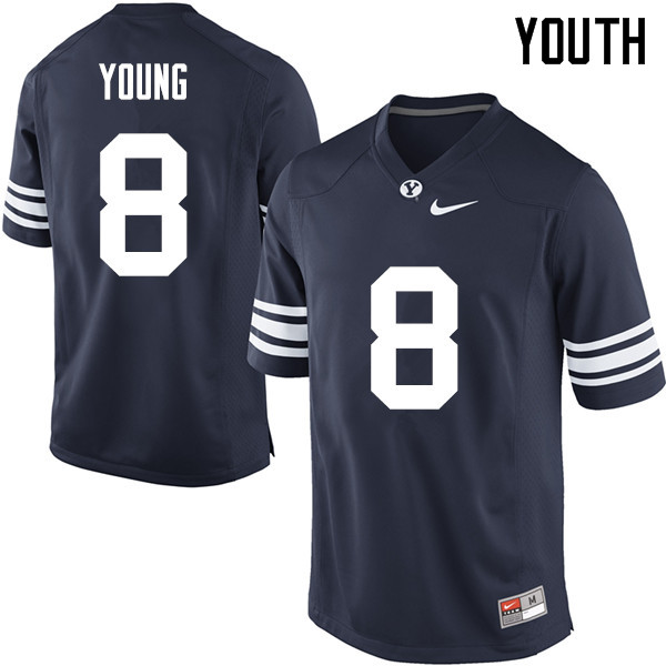 Youth #8 Steve Young BYU Cougars College Football Jerseys Sale-Navy