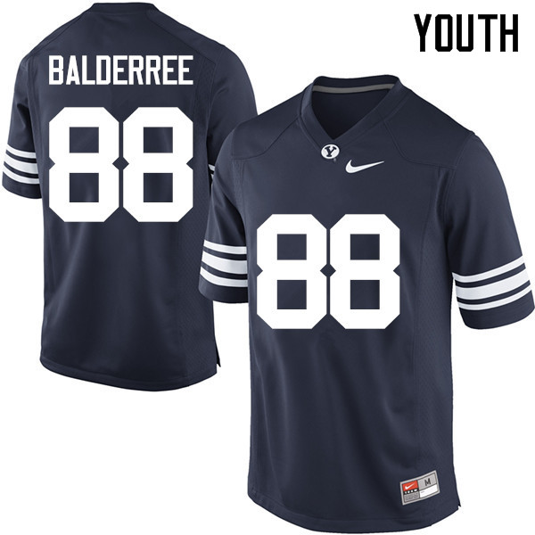 Youth #88 Tanner Balderree BYU Cougars College Football Jerseys Sale-Navy